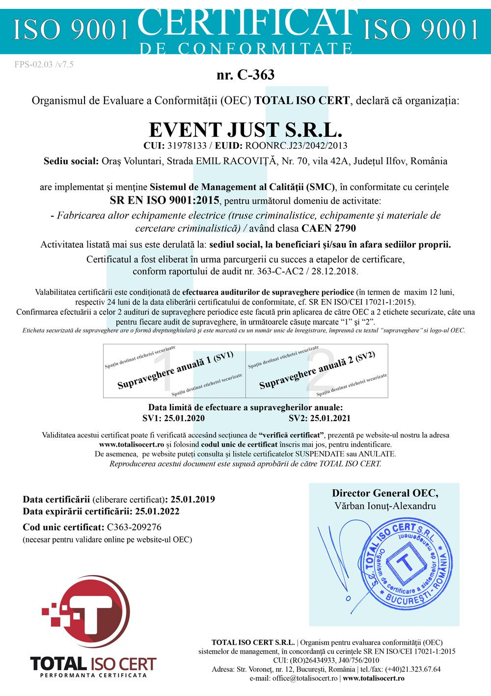 Event-Just-Certificat-ISO-9001-2015